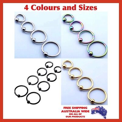 Captive Bead Ring Hoop Nose Tragus Helix Cartilage Rook Nipple Piercing Earring