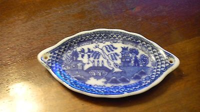 Child Blue Willow Rare Open Handle Platter Fish Plate Bread Plate For Tea Set