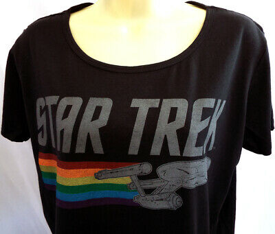 Star Trek Women's T-Shirt (Large) Warp Speed Enterprise -Thin New!