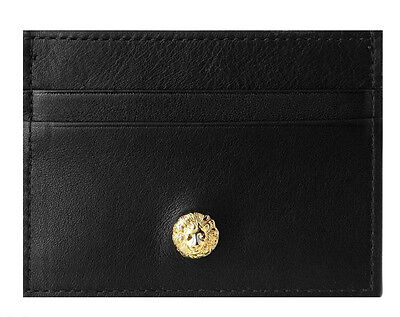 NWT VERSUS VERSACE LION Nappa Leather Wallet Card Holder GOLD/BLACK FPU0020