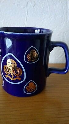Vintage - Girl Guide  Mug-Cobalt Blue & Gilt Ceramic - Made in England - VGC