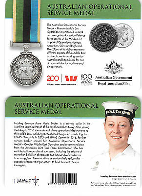2017 Anzac 20 cents Uncirculated Coin - Australian Operational Service Medal