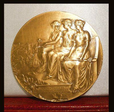 Scarce superb French Bronze art nouveau medal three women seated