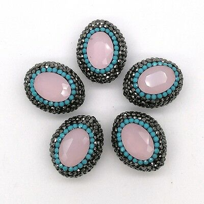HB046 5PCS 19x23mm Oval Pink Blue Crystal Beads Trimmed With Crystal Zircon