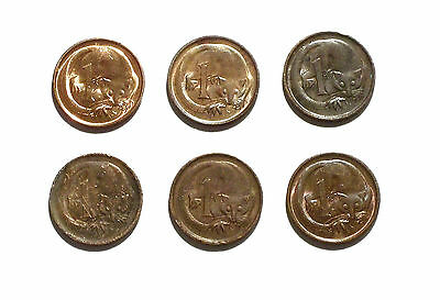 Australia 1 Cent Coins from 1971-1976