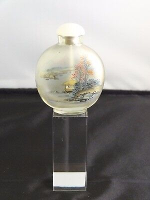 Chinese Interior Painted Glass Snuff Bottle, Reverse Painted Scene, 20th Century