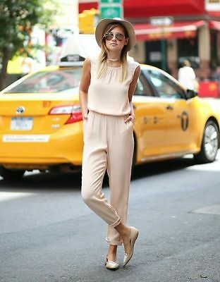 Sold Out  Zara Nude Long Jumpsuit Bloggers Size S Small Uk 8