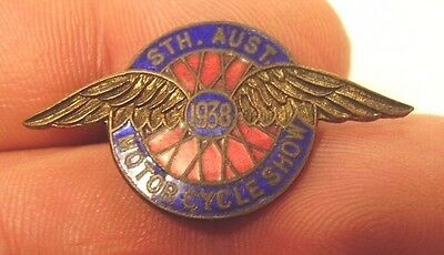 1938 South Australia Motor Cycle Show Badge Pin Motorcycle Miller