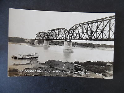 RP Mobridge South Dakota Missouri River Railroad Bridge & Ferry 1920s Postcard