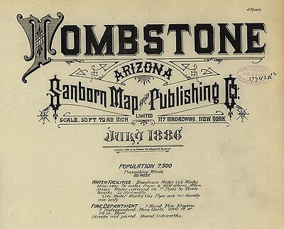 Tombstone, Arizona~Sanborn Map© sheets 1886~with 4 maps