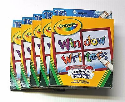 Lot of 5 Crayola 10 Window Writers Washable - Broad Tip Markers - New