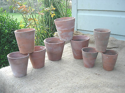 Collection of 9 Old Hand Thrown  Vintage Long Tom Terracotta  Plant Pots