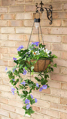Topiary Hanging Basket 28cm Purple with Solar Lights LED Ultra Realistic Flowers