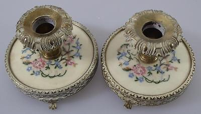 PAIR PETIT POINT CANDLESTICKS c1950s REGENT LONDON EMBROIDERED TAPESTRY