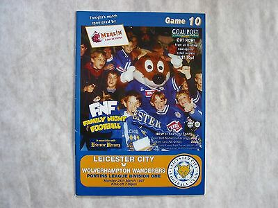 Leicester City Reserves v Wolverhampton Wndrs Reserves 1997 Football Programme