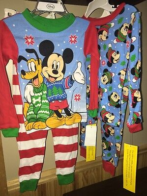 New Disney Mickey Mouse 4 Piece Pajama Set Size 3T With Pluto Holiday