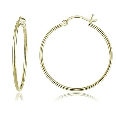 b721c74d8 Gold Tone over Sterling Silver 1.5mm High Polished Round Hoop Earrings, 30mm