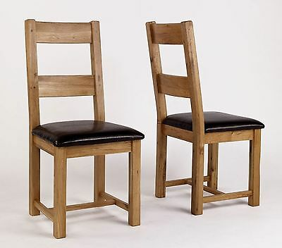 Newbury solid oak furniture set of four leather seat dining chairs