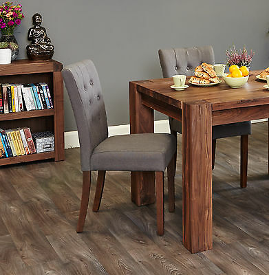 Arran solid dark wood furniture set of four flare back slate dining chairs