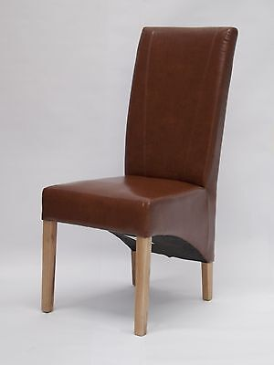 Newark solid oak furniture set of four tan leather dining chairs