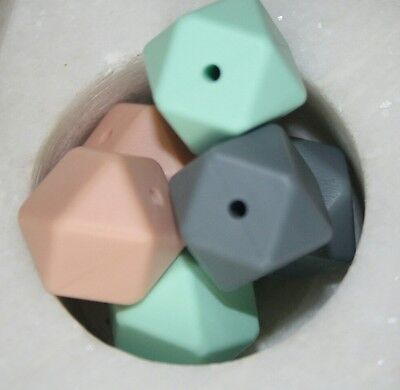 Loose Silicone Beads 17mm loose BPA Free colour mix x10 Hexagon  lead free