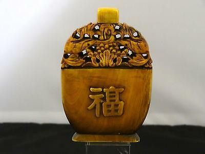 Antique Chinese Snuff Bottle, Pierced And Carved With Bats, Early 20th Century