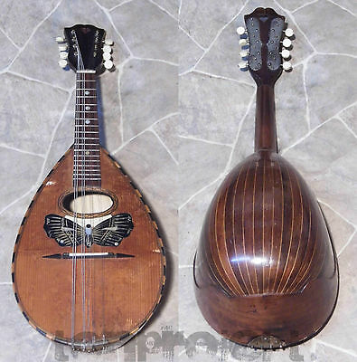 fine old all solid quality 8string bowlback BUTTERFLY MANDOLIN Germany 1930s