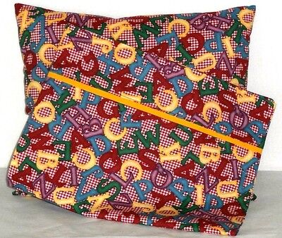 Alphabet Letters Toddler Pillow and Pillowcase Multi-color Cotton 9 New Handmade