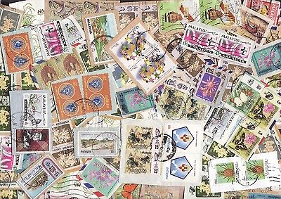Malaysia Commemorative & Definitive Stamps Mixture Close Cut Single Ply On Paper