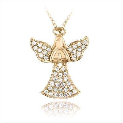 Rose Gold Tone over 925 Silver CZ Praying Angel Necklace, 18""