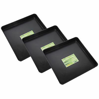 Garland Square Garden Plant Pot Watering Soil Growbag Seed Tray Plastic 3 Pack