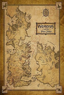 "WESTEROS and the Free Cities ""MAP"" (Game of Thrones) - Poster 13 x 19 - NICE"