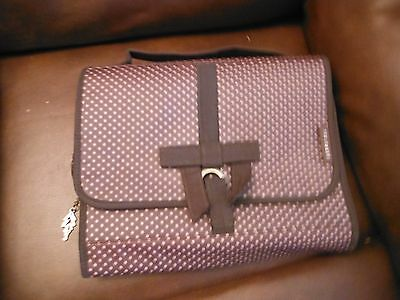 Womens Ted Baker Hanging Wash Bag Fold Out Multi Pockets Brown Pink Zip Soap