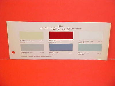 1964 Opel Kadett Kapitan Admiral Diplomat Paint Chips Color Chart Brochure 64