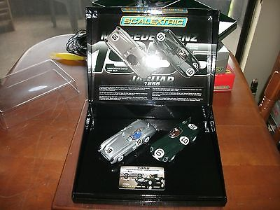 1/32 scale Scalextric 300 SLR and Jag D-Type slot car set