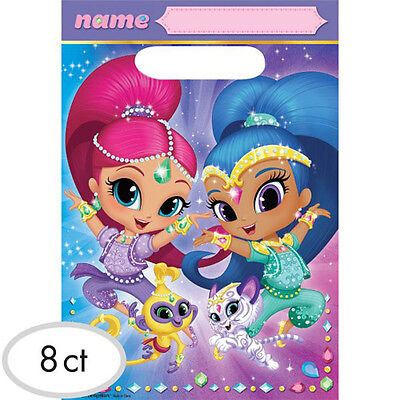 SHIMMER AND SHINE PLASTIC FAVOR BAGS 8 Birthday Party Supplies Loot Goody