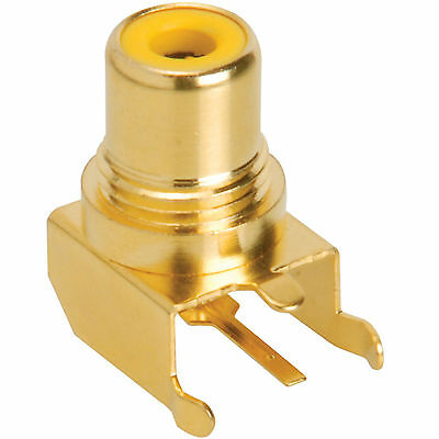RCA Jack PCB Mount Gold Plated Right Angle Yellow