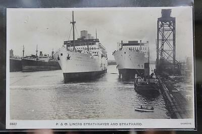 P&o Orient Line Unusual Tss Strathaird Strathnaver Launch Real Photo Postcard