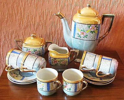 Japanese Hand-painted Lustreware 15-piece Tea Set with Pink Flowers.