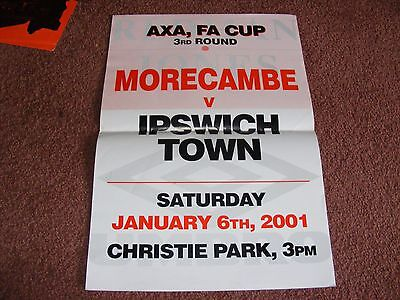 2001 Morecambe v Ipswich Town FA Cup Original Advertising Poster