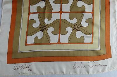 """~RARE Leslie Caron Scarf Made By Emmit Cash~Multi Color Abstract 17"""" X 80""""~"""