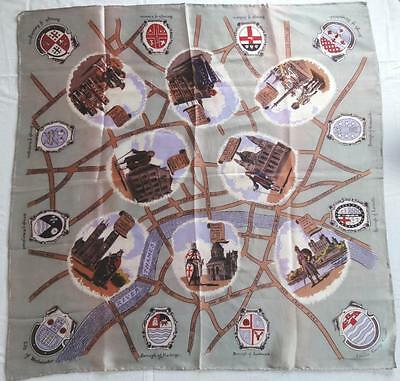 """~Vintage London Map Scarf Chelsea, Greenwich, Westminster 31"""" X 31""""~"""
