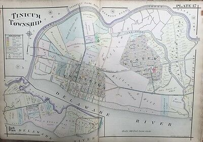 Original 1909 A.h. Mueller, Delaware County, Pa, Tinicum Twp, Plat Atlas Map