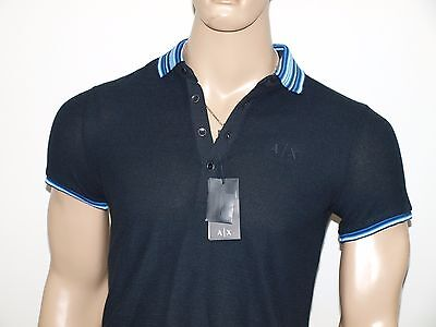 Armani Exchange Authentic Striped Waffle Knit Polo Shirt Black NWT