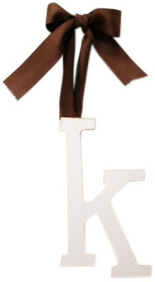 Arrivals Wooden Letter K with Solid Brown Ribbon, Cream