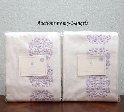 TWO Pottery Barn Kids MIA Blackout Embroidered Panels Drapes 44X63 LAVENDER S/2