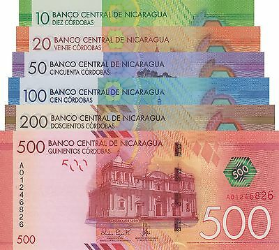 Nicaragua 6 Note Set: 10 to 500 Cordobas (26.3.2014), p210-215/Polymer UNC