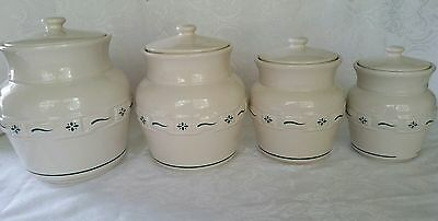 Longaberger Pottery Heritage Green Woven Traditions 4pc Canister Set Retired,USA
