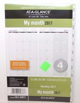 At-A-Glance Day Runner Monthly Planner Refill Size 4 Loose-Leaf Planner 061-685Y