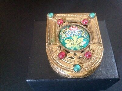 Horseshoe Shaped Gilded Enameled Floral  Mirrored Compact made in France